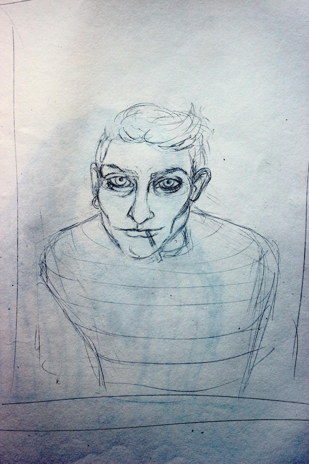 Sketchpad Notebook Sketch Drawing Pencil Portrait Smoking Man