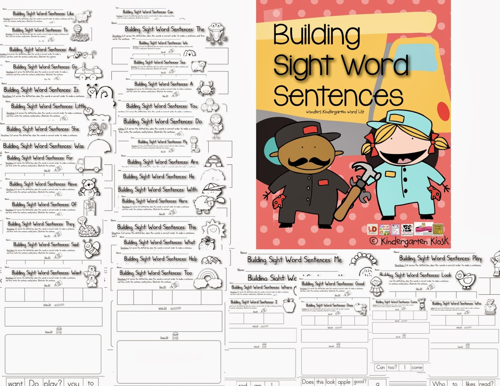 Kindergarten Kiosk Kindergarten Sight Word Worksheets