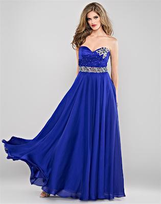 Color azul metalico en vestidos