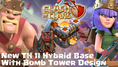 Base Hybrid TH 11 COC Update Bomb Tower Terbaru 2017
