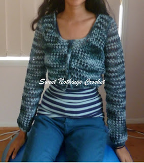 free crochet cropped sweater pattern,  free crochet ladies sweater pattern