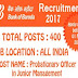 Bank of Baroda Recruitment 2017 – 400 Probationary Officer Vacancies