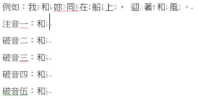 中文注音字型。讓中文字可以顯示注音