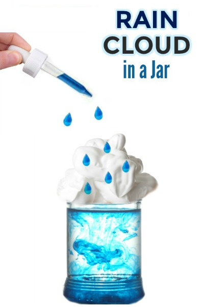 FUN KID SCIENCE: Make a rain cloud in a jar. Great for all ages!  #raincloudexperiment #scienceforkids #weatheractivitiesforkids #springscience #raincloudinajar