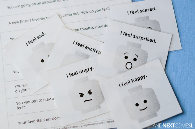 Free printable LEGO speech & emotions game for kids from And Next Comes L