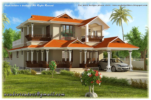 Beautiful Kerala Style 2 Storey House 2584 Sq Ft Plan
