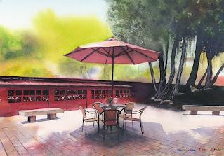 赤崁樓 水彩画。台南にある古跡の片隅を絵にしました。赤い壁、赤いパラソルが印象的です。