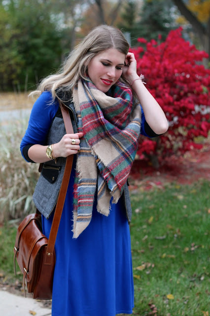 cobalt dress, blanket scarf, crossbody bag, black boots