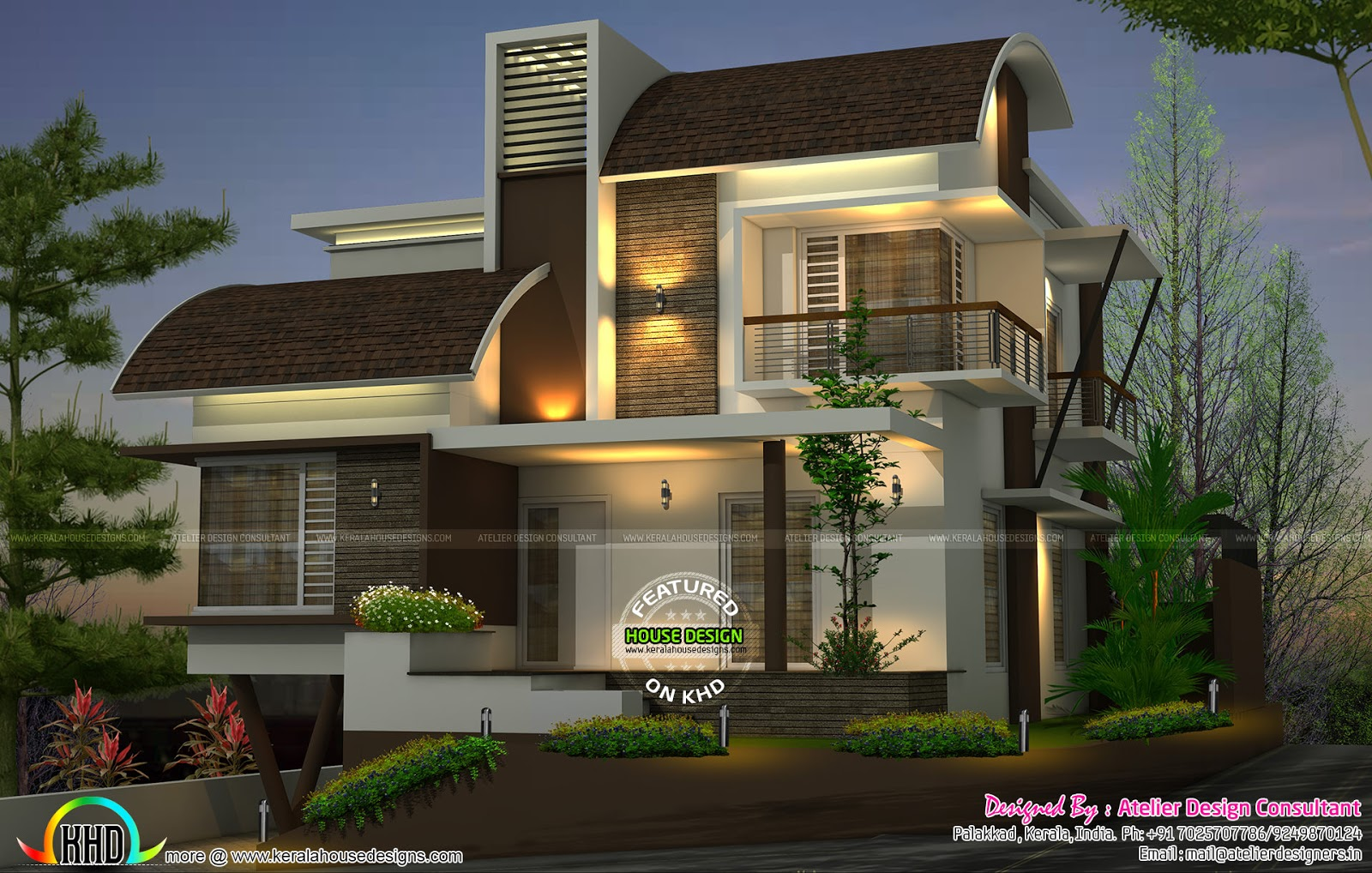 Contemporary style curved roof mix home kerala home for Curved roof house plans