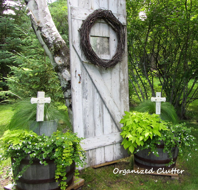 Barn door garden decor