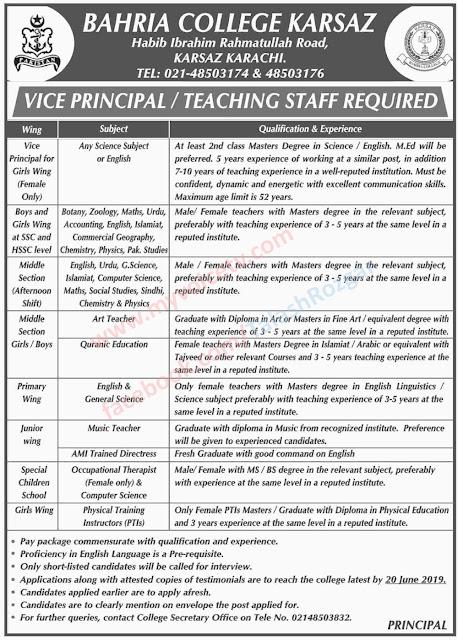 ➨ #Jobs - #Career_Opportunities - #Jobs - in Bahria College Karsaz Karachi - Last date is 20 June 19