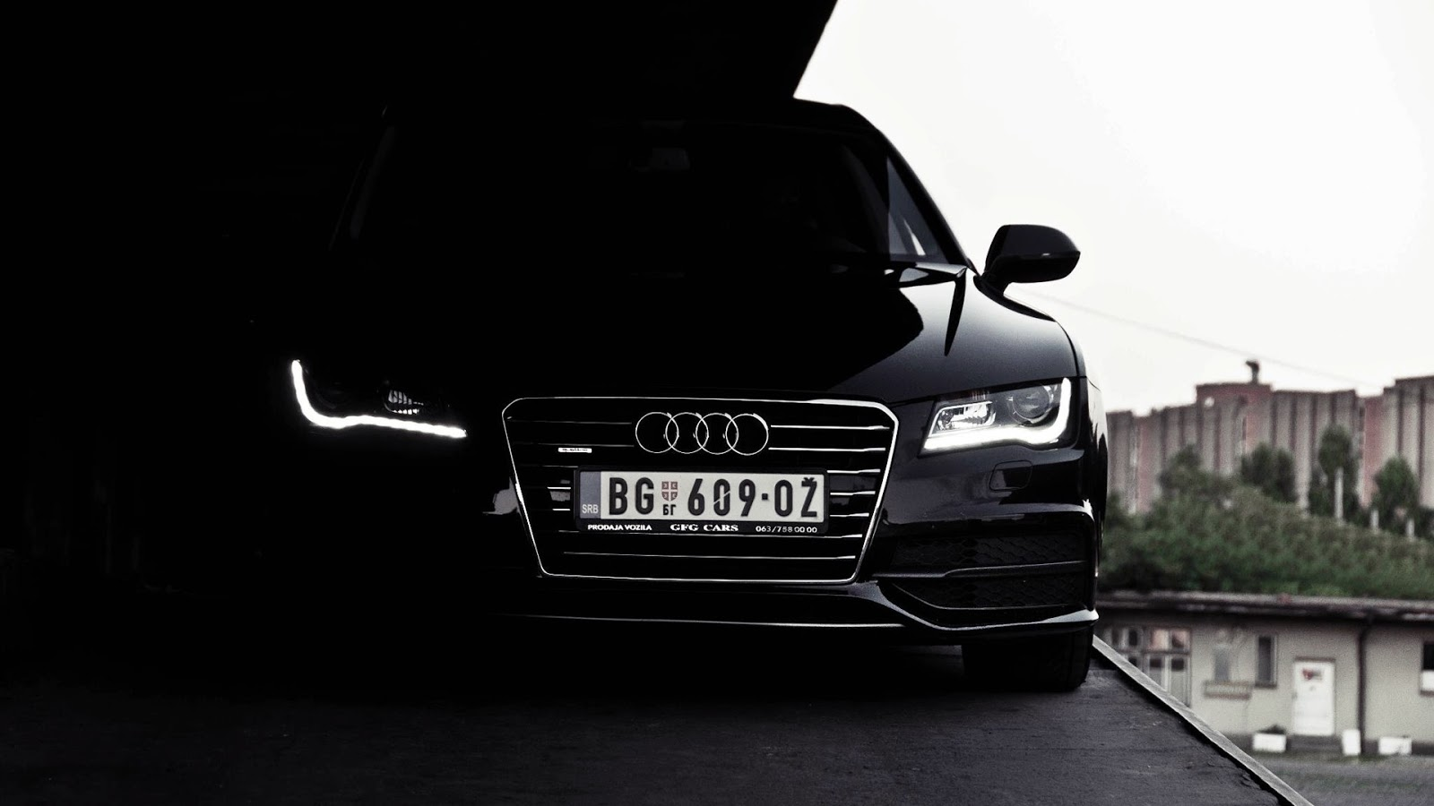 Black Audi A7 In Dark Headlights Hd Wallpaper Hd Car Wallpapers
