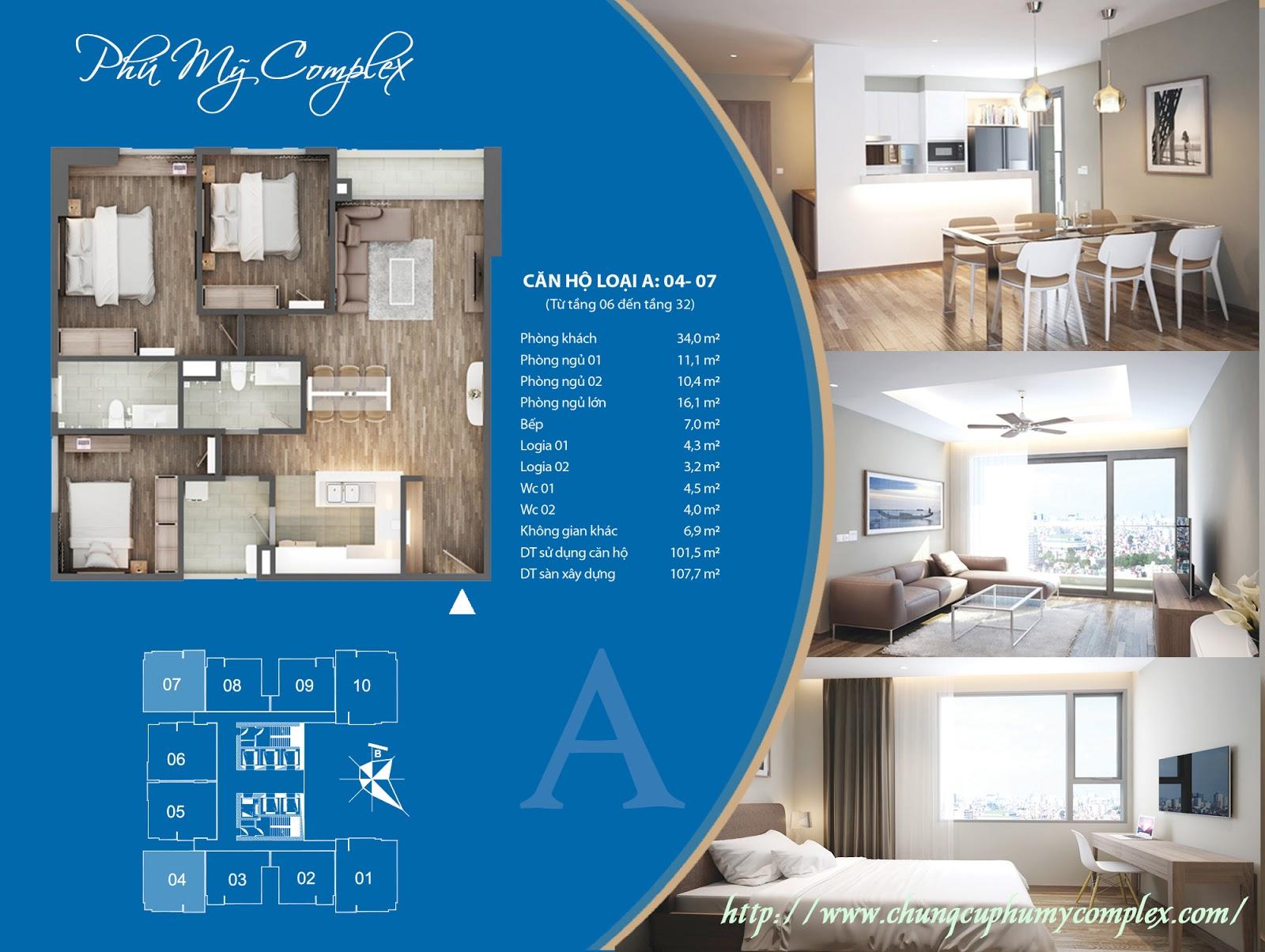 Thiết kế chi tiết căn hộ số 04 - 07 Chung cư Phú Mỹ Complex