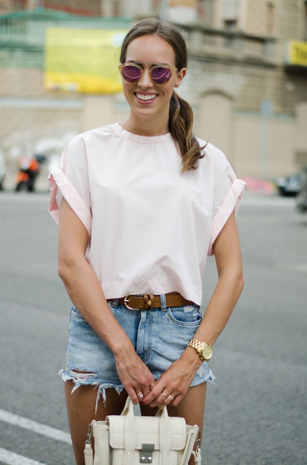 kristjaana mere pink crop tee summer outfit