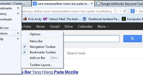 Menampilkan Menu Tool Bar pada Mozilla Browser - Tutorial Komputer