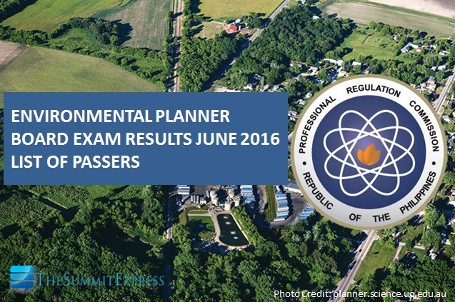 June 2016 Environmental Planner board exam results