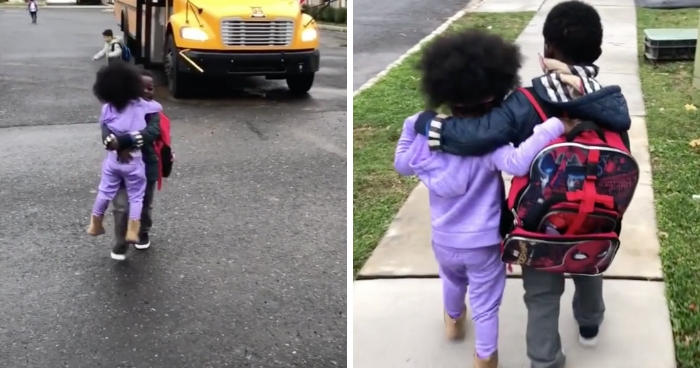 Heartwarming Video Of Little Girl Waiting For Her Brother To Get Off The School Bus Every Single Day