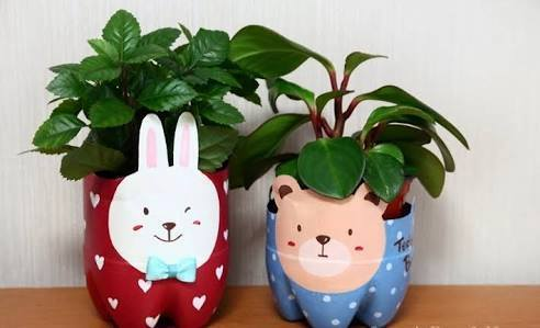Idea to make something from bottle for kids : flowers pot