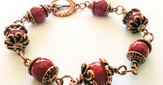 "Faceted Burgundy Agate Bracelet and Earrings Set, ""Wine Berry"""