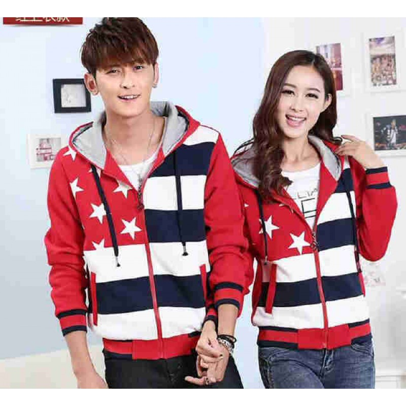 Jual Jacket Couple Jacket Bintang Merah - 23197