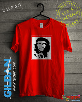 Baju Kaos DISTRO Desain Seluet Guevara Warna Orange