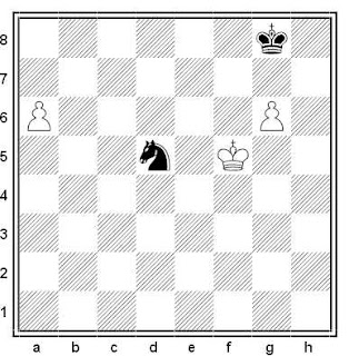 Final de ajedrez: Caballo contra dos peones aislados, blancas ganan
