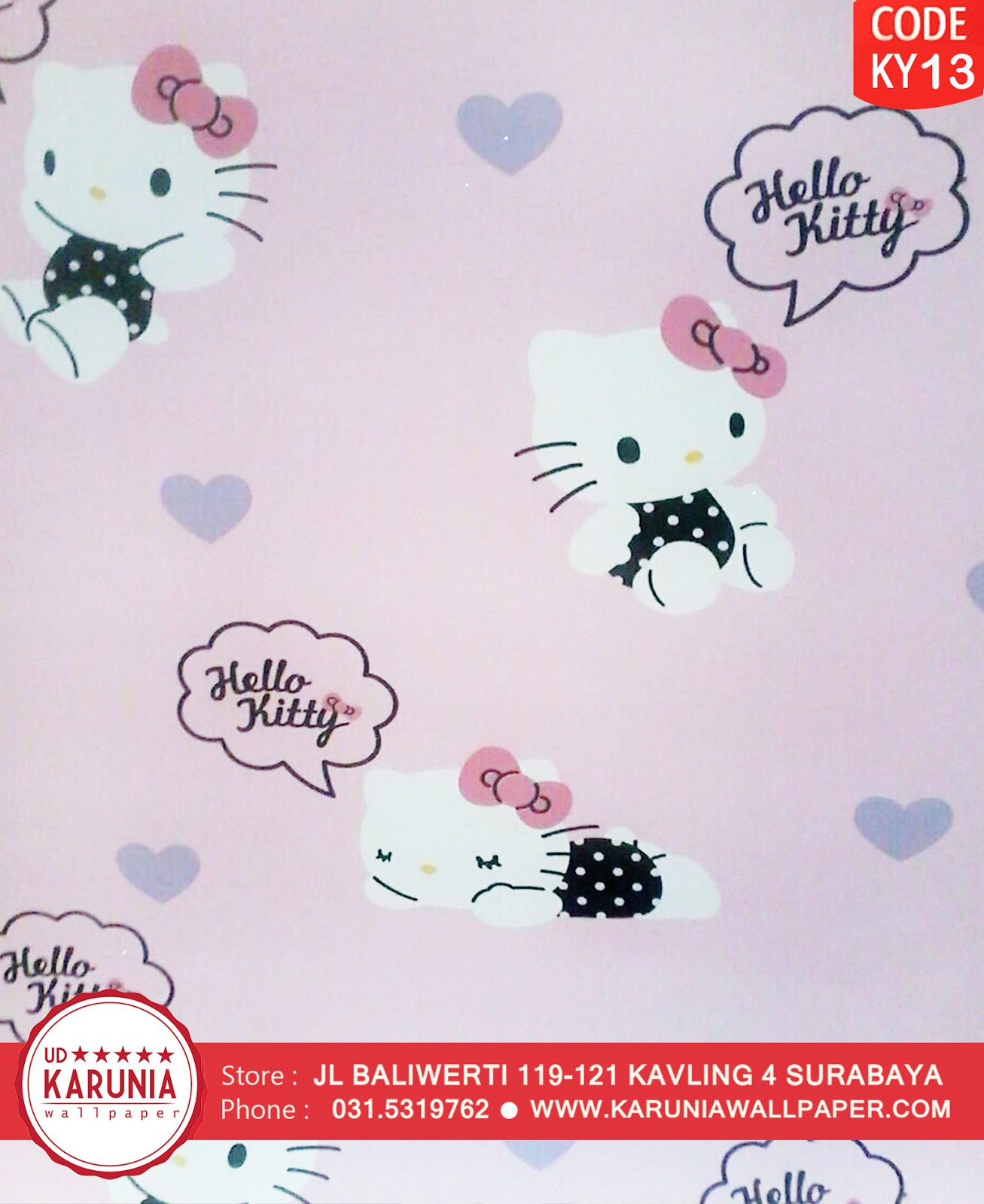 jual wallpaper dinding hello kitty pink lucu