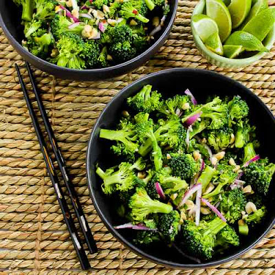 Easy Thai-Flavored Raw Broccoli Salad Recipe with Red Onion, Mint, and Peanuts found on KalynsKitchen.com