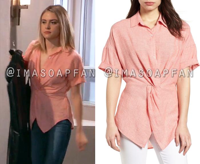 Kiki Jerome, Hayley Erin, Pink Twist-Front Linen Popover Shirt, General Hospital, GH