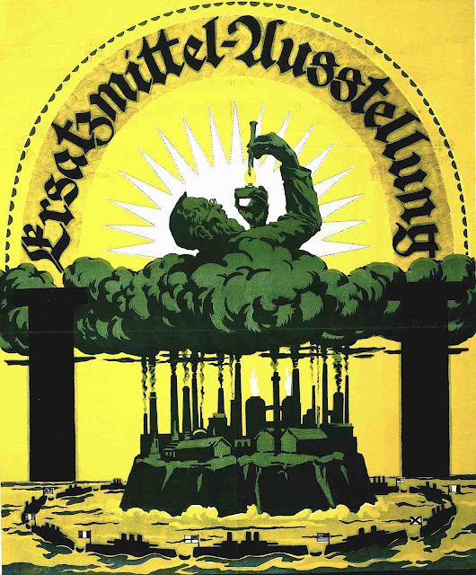 a color poster for the Ersatzmittel Ausstellung of 1918, an exhibition of substitute materials