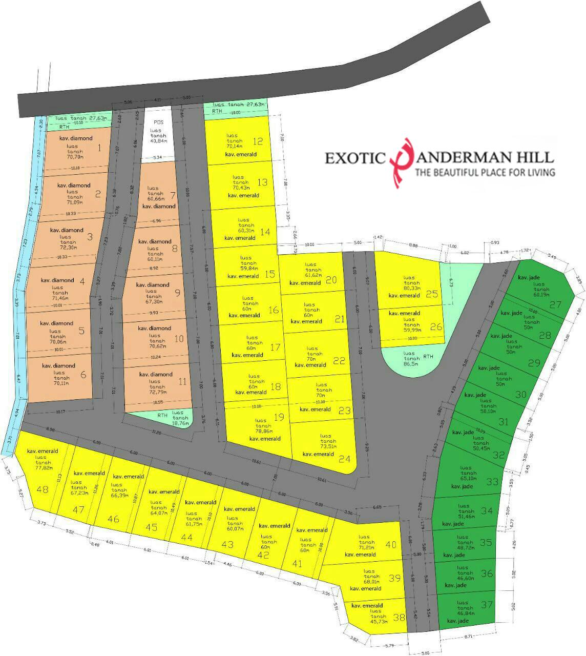 Ini adalah masterplan Exotic Panderman Hill denah dan dimensi panjang, lebar, luas kavling tiap cluster.