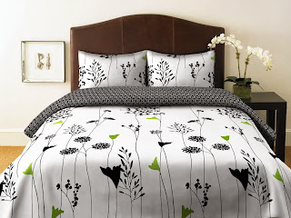 Perry Ellis, Asian Lily Collection, Duvet Set, Full/Queen