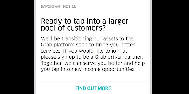 uber extend it's Singapore operation till 7th May 2018