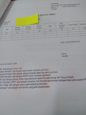 raden agus suparman: surat permintaan informasi identitas pembeli dari KPP