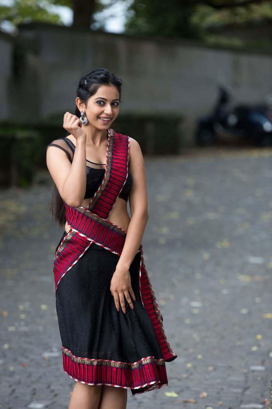 Actress Rakul Preet Singh Glamorous In Half Saree Pics Latest