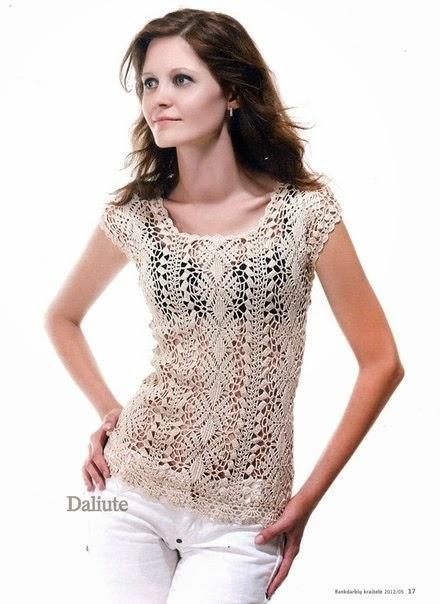 Blusa de dama de mangas cortas crochet