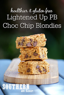 Healthy Gluten Free Peanut Butter Chocolate Chip Blondies Recipe