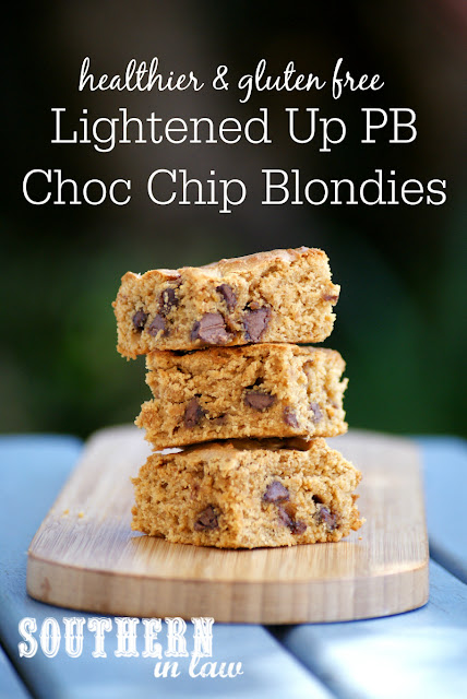 Gluten Free Lightened Up Peanut Butter Chocolate Chip Blondies Recipe - gluten free, healthy, low fat, low sugar, low calorie, healthy blondies recipe