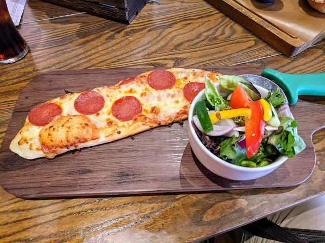 Where to eat in Chester UK: Pizza and salad at Music Tap Hall