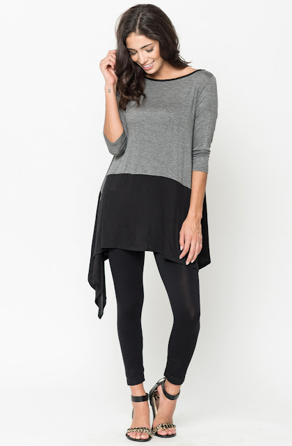 Buy Now Charcoal Two Tone Jersey Tunic Online $20 -@caralase.com