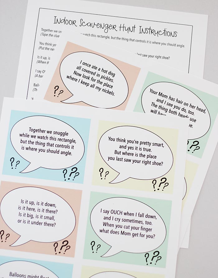 This Scavenger Hunt Is Perfect For Any Time You Need A Little Indoor Fun With 10 Printable Clues Plus 2 Blank Cards Can Customize Create
