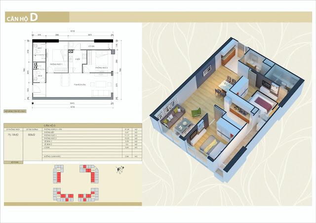 Thiết kế căn hộ loại D: 2 phòng ngủ, 2 vệ sinh, diện tích 75m2 thông thủy