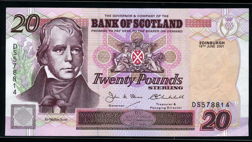 bank of scotland money 20 pounds sterling banknote 2001