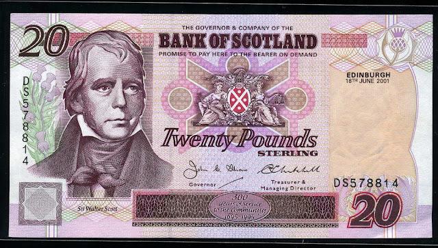 Bank of Scotland money 20 Scottish Pounds notes