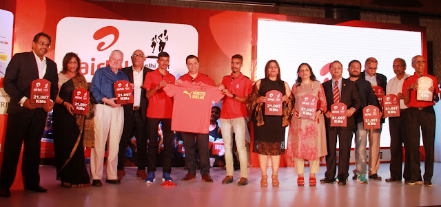 Photo Caption:    At the ADHM 2016 Race day Tee unveiling from (L to R) Dilip Jayram (CEO) Procam International, Meena Bhatia - VP Sales and Marketing, Le Meridien New Delhi, Murray Culshaw-Chairman, India Cares, Anil Singh-MD, Procam International, Olympian Kheta Ram, Dhruv Bhagat, CEO – Delhi/NCR, Bharti Airtel, Olympian Gopi T, Vinita Bhatia – AVP, National Head, Media Entertainment & Sport. Times Group, Rubina Mittal-Delhi Tent, Tamorish Kole – Medical Director for the event &  Principal Consultant & Head, Department of Emergency medicine, Max Healthcare, Soumava Naskar-Jabong, Shrenik Mehta-Harmony, P K Srivastava-AFI & P N Sankaran-Procam International.