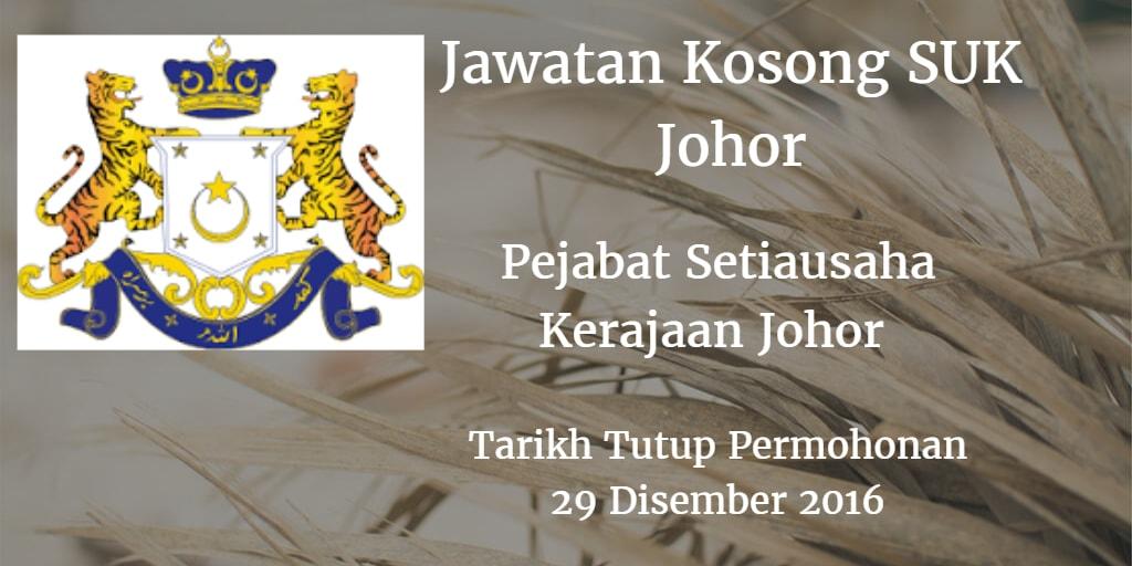 Jawatan Kosong SUK Johor 29 Disember 2016