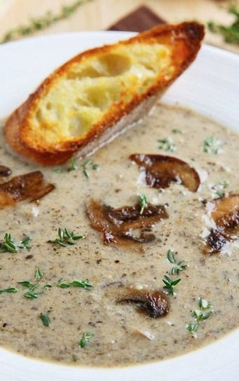 A cream of mushroom soup with brie to make it extra creamy and good!