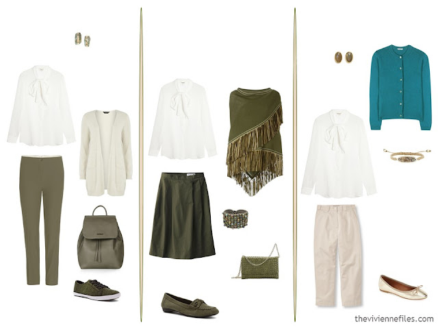 3 ways to wear an ivory blouse with olive, teal and beige