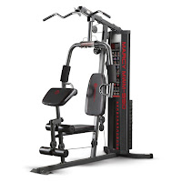 Marcy MWM-990 150 lb Stack Home Gym, allows for maximum weight resistance of 200 lbs depending on type of exercise performed, dual function press arms, padded press arm, upper pulley, overhead lat station, dual function leg developer, adjustable preacher curl pad, weight stack lock