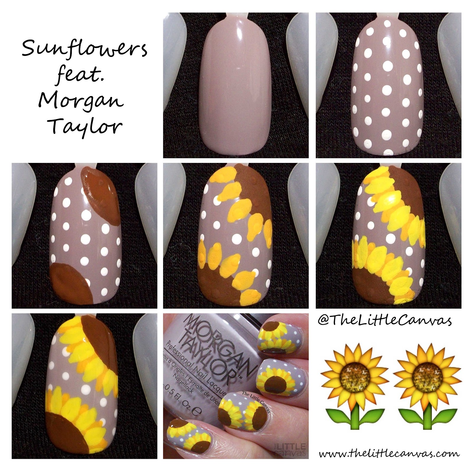 The One With the Sunflower Nail Art Tutorial - The Little Canvas